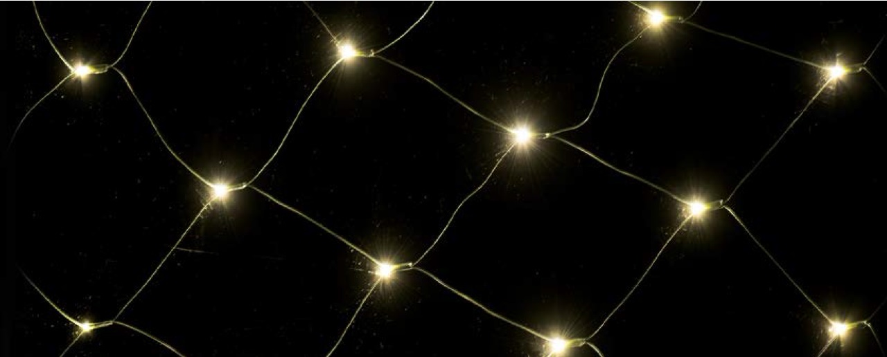 Osvětlení vánoční síť 1,5x2m-160 LED teplá bílá+10m přívodní kabel