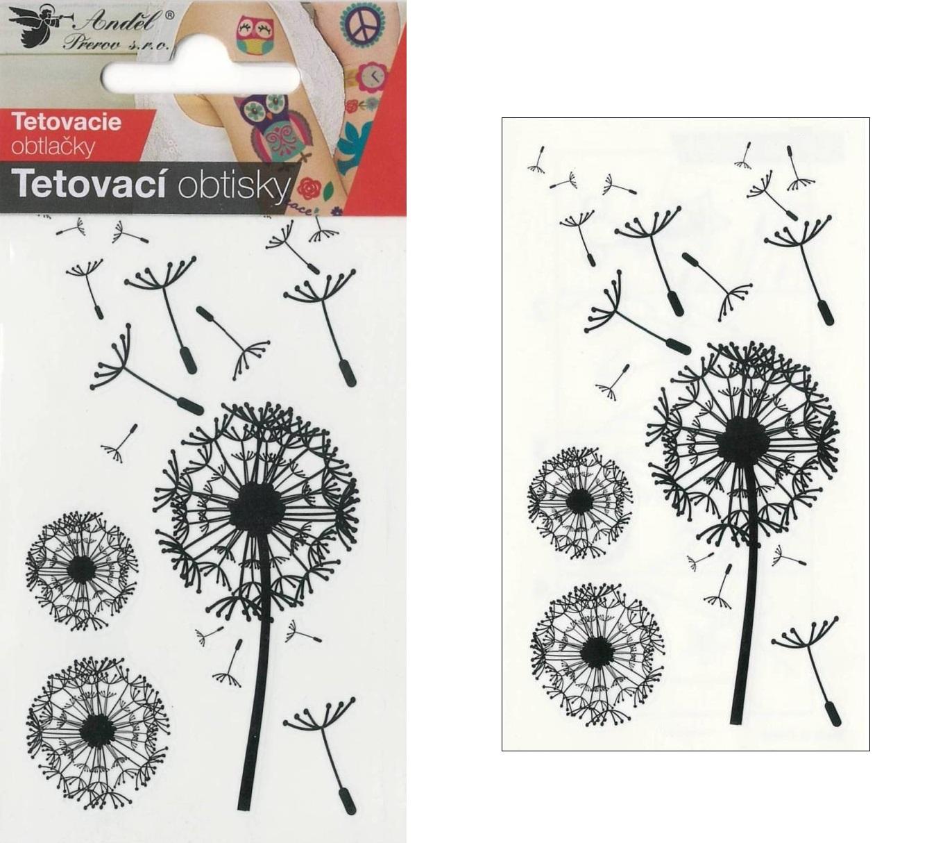 Obtisky tetovací 10,5x6 cm- pampelišky