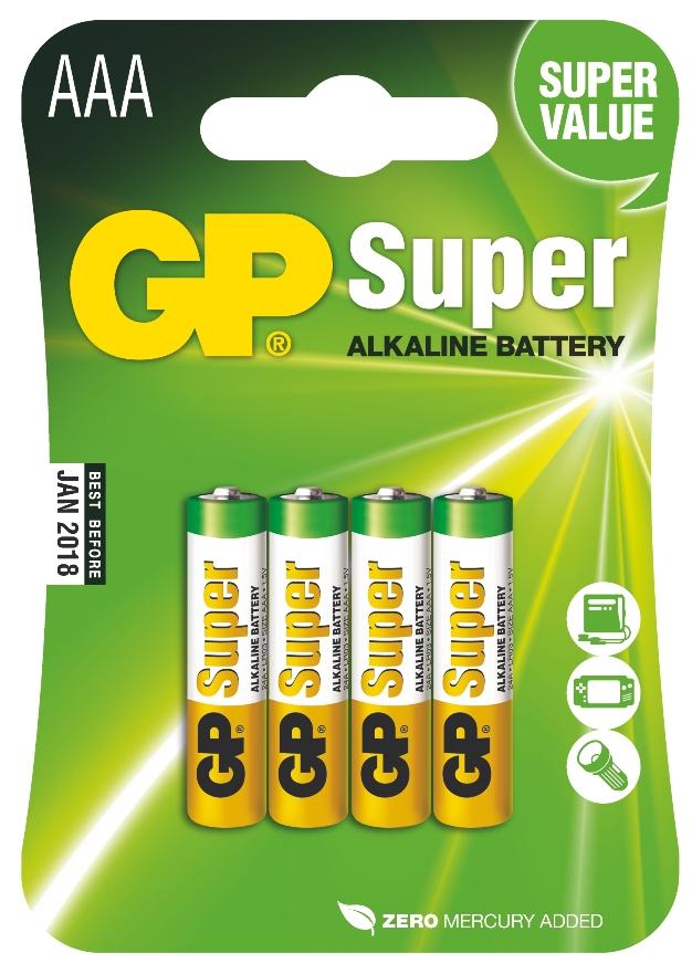 Baterie AAA mikrotužkové 1,5V, 4 kusy