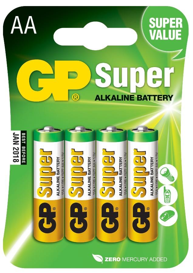 Baterie AA tužkové 1,5V, 4 kusy
