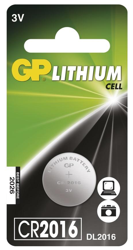 Baterie knoflíková CR2016, 3V, Lithium