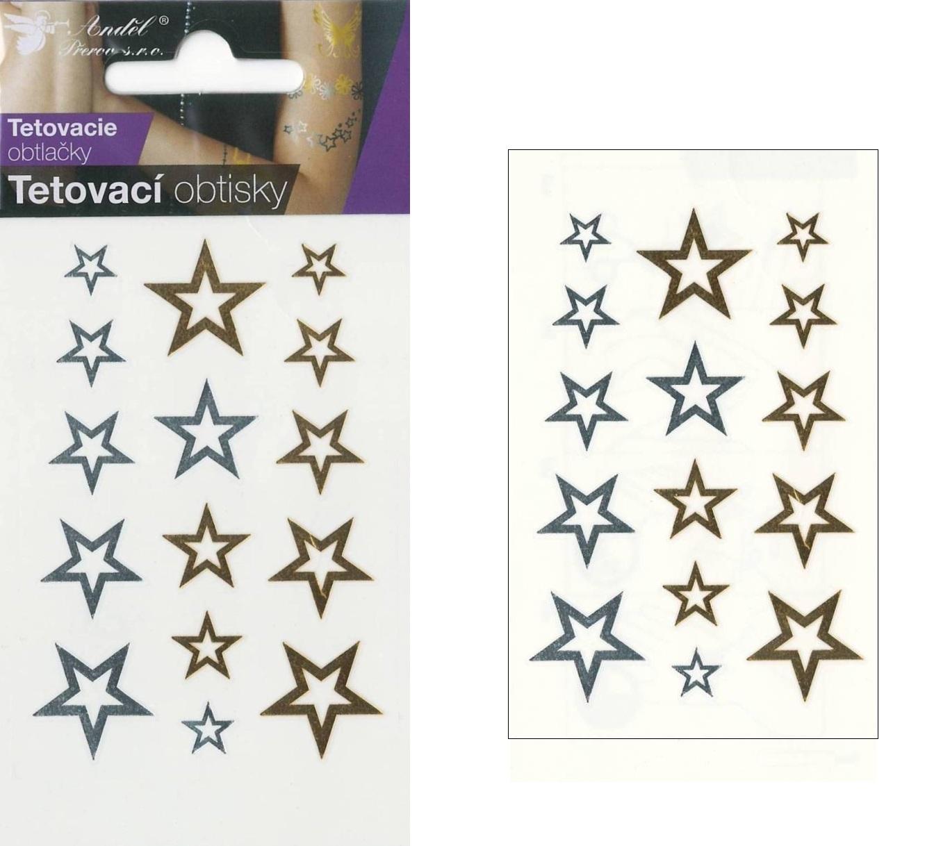 Obtisky tetovací zlaté a stříbrné 10,5x6 cm- hvězdy
