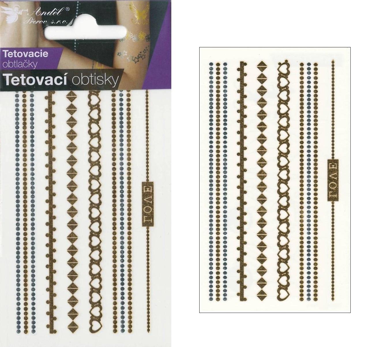 Obtisky tetovací zlaté a stříbrné 10,5x6 cm- řetízky