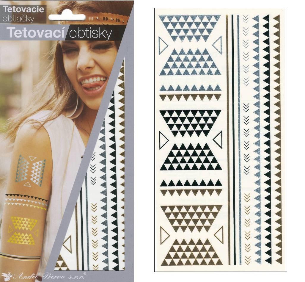 Obtisky tetovací zlaté a stříbrné 21x10,5 cm-ornamenty