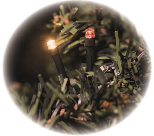 Osvětlení světluška řetěz 12 m -120 LED jantarová a červená + 5m přívodní kabel s časovačem