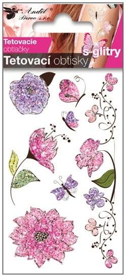 Obtisky tetovací s glitry 10,5x6 cm- růžové květy