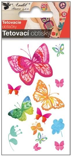 Obtisky tetovací 10,5x6 cm- motýli vodokresba (1127)