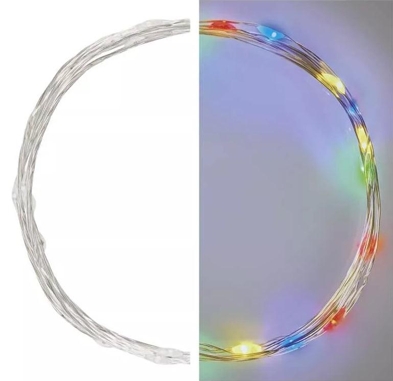 Osvětlení nano stříbrné 1,9m - 20 LED multicolor + časovač