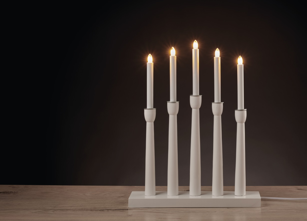 Svícen bílý 46 x 36 cm, 5 LED, teplá bílá + 1,5 m přívodní kabel (11288)