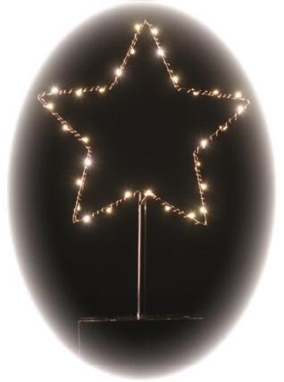Hvězda na stojánku 33 x 13 cm - 30 LED teplá bílá + časovač