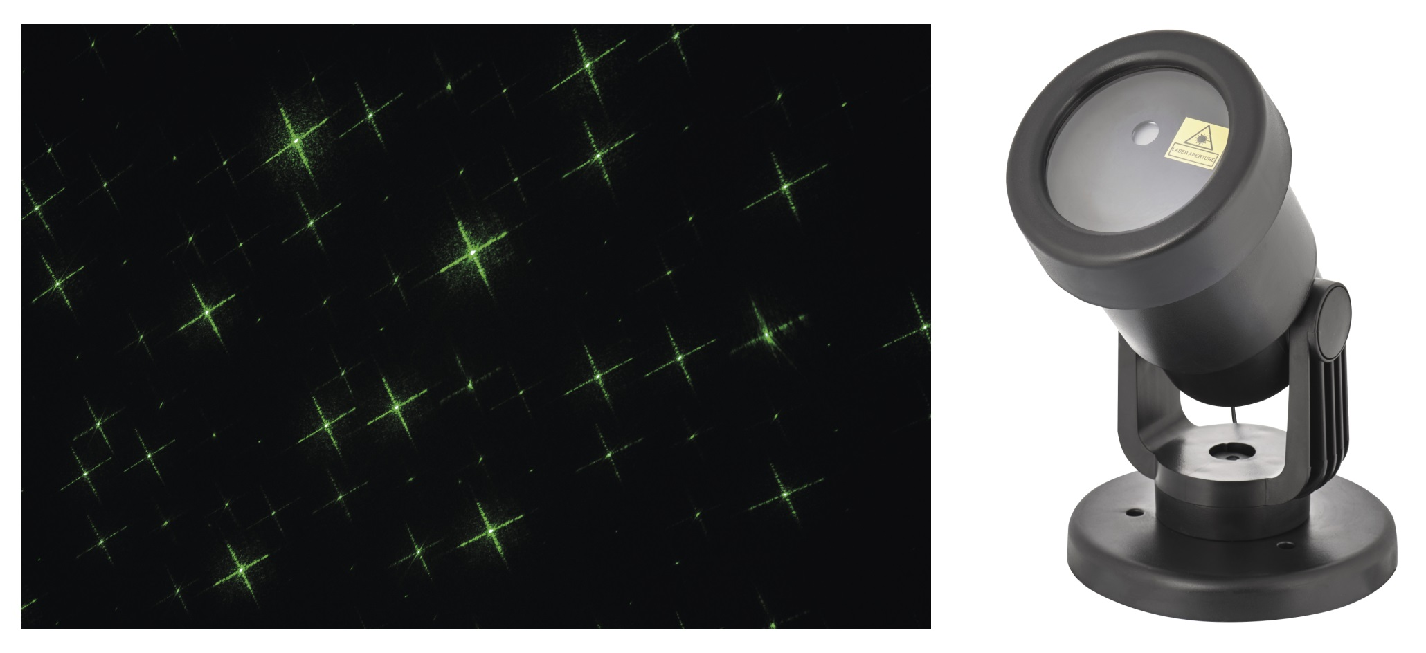 Projektor laser zelené hvězdy + 5 m přívodní kabel