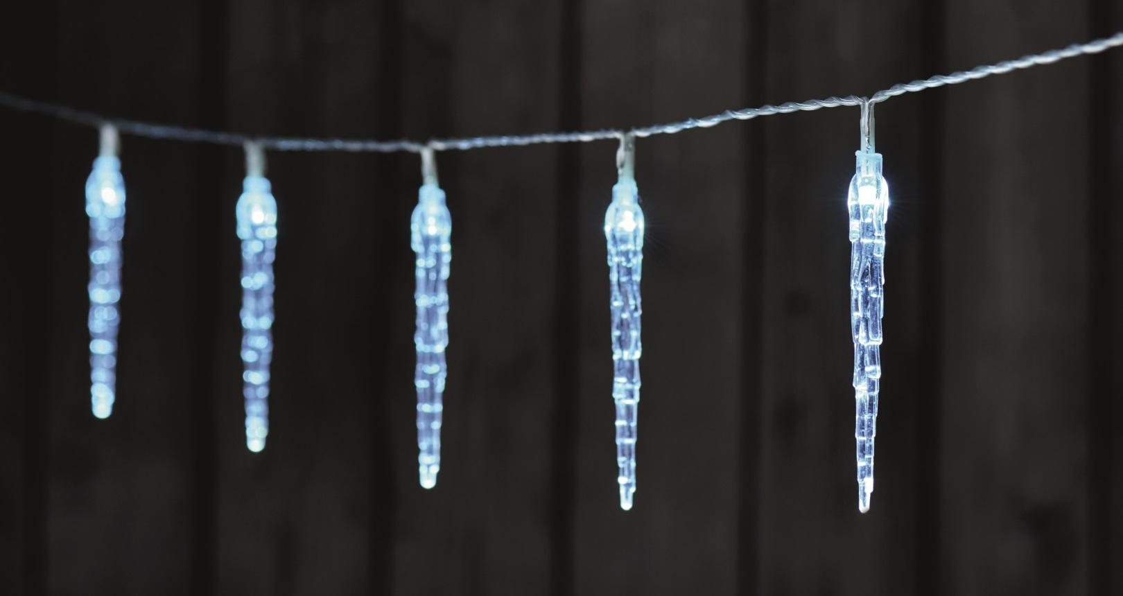 Rampouchy 10 cm svítící řetěz 1,35 m, 10 LED studená bílá