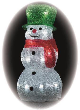 Sněhulák ledový 23 x 11 cm- 20 LED + časovač