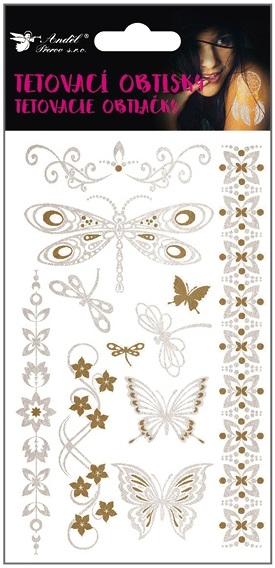 Obtisky tetovací zlaté a stříbrné 20x9 cm