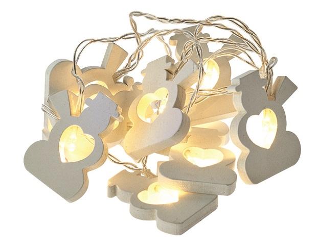 Osvětlení vánoční řetěz sněhuláci 1,35 m, 10 LED, teplá bílá + 0,3 m přívodní kabel