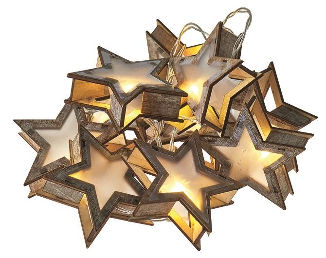Osvětlení vánoční řetěz hvězdy 3D, 1,35 m, 10 LED, teplá bílá + 0,3 m přívodní kabe