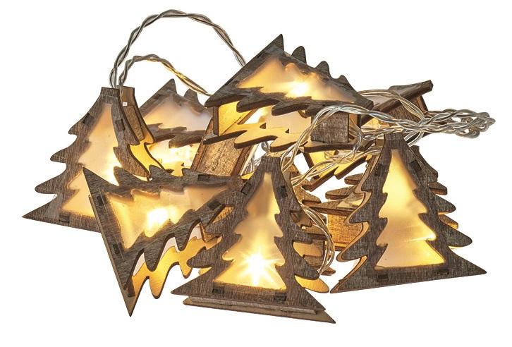 Osvětlení vánoční řetěz stromy 3D, 1,35 m, 10 LED, teplá bílá + 0,3 m přívodní kabel