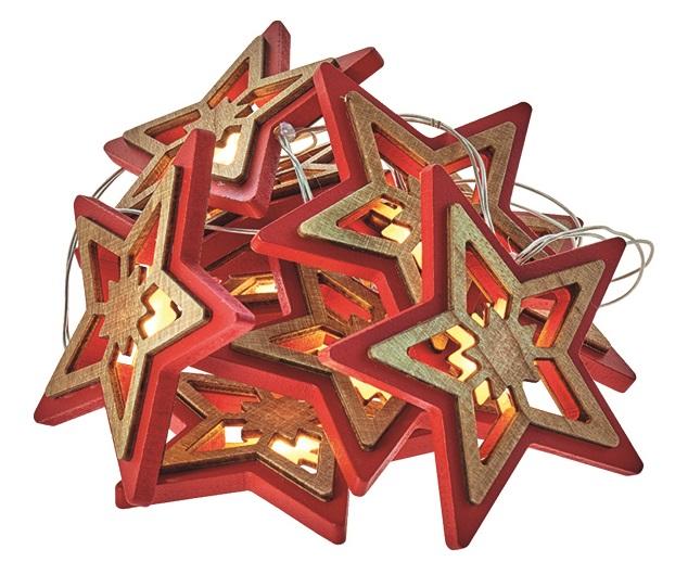 Osvětlení vánoční řetěz hvězdy 1,35 m, 10 LED, teplá bílá + 0,3 m přívodní kabel