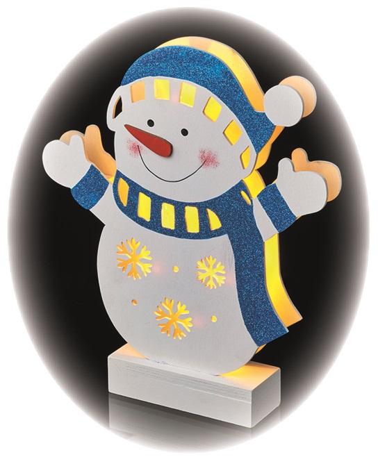 Osvětlení dřevěný sněhulák 23 × 4 × 26,5 cm, 5 LED, teplá bílá