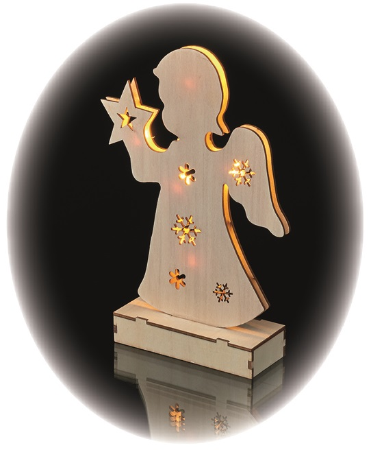 Osvětlení dřevěný anděl 23 cm, 6 LED, teplá bílá