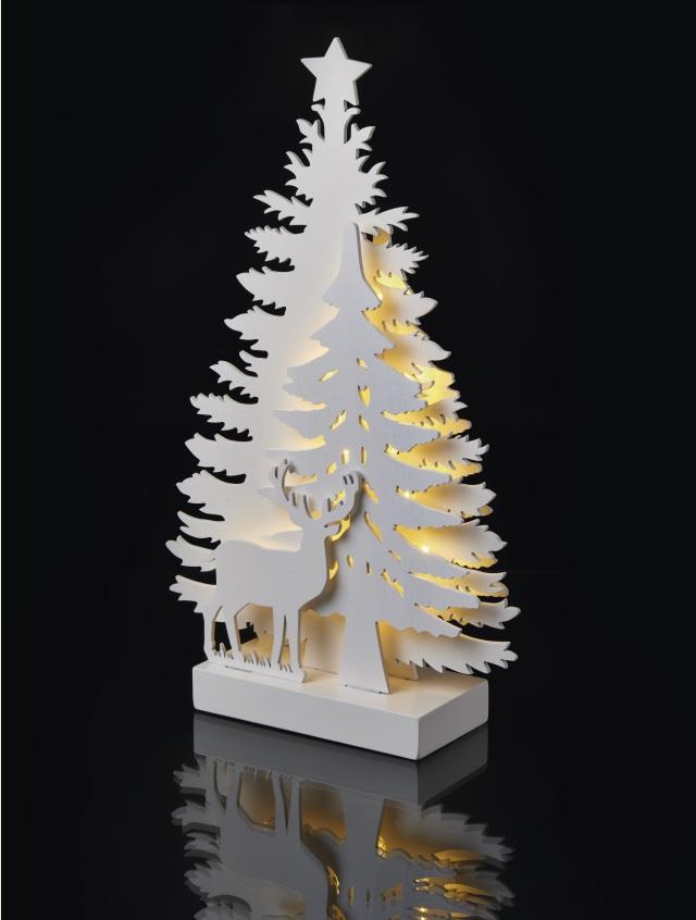 Dekorace les a jelen na postavení 35 x 20,5 cm - 15 LED teplá bílá + časovač