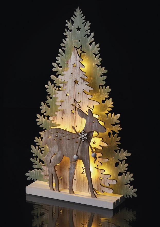 Dekorace les a srnka na postavení 33 x 22 cm - 10 LED teplá bílá