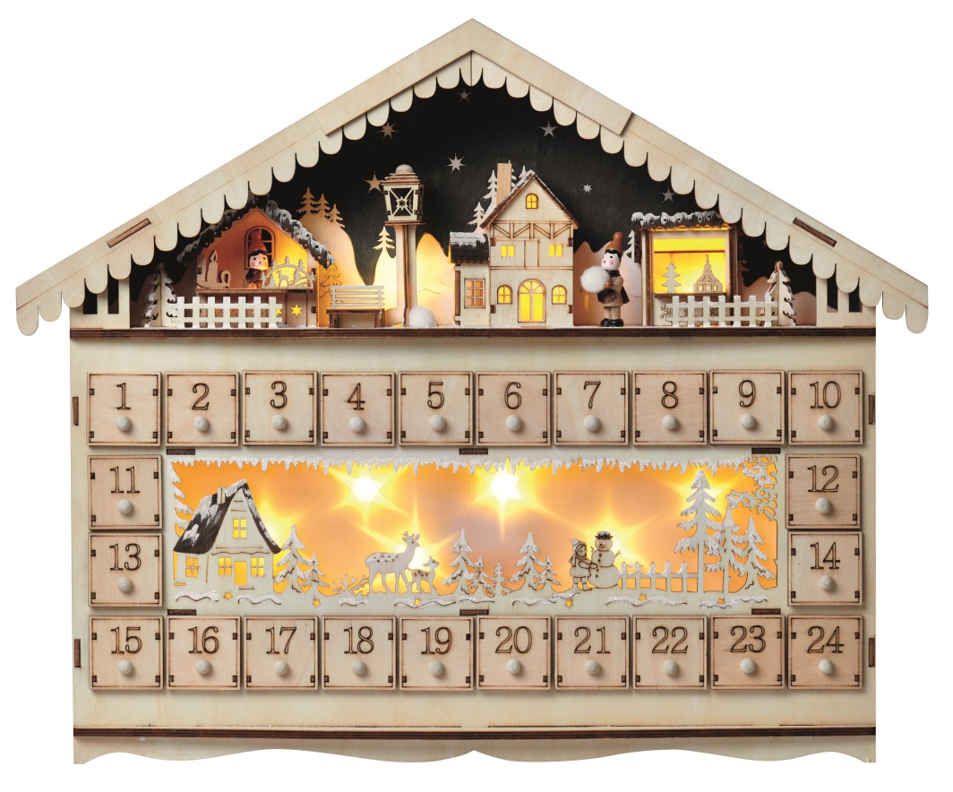 Adventní kalendář dřevěný 50 x 40 cm, 10 LED teplá bílá + časovač