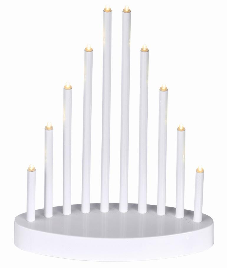 Osvětlení svícen bílá pyramida 20 x 24,5 cm, 10 LED, teplá bílá