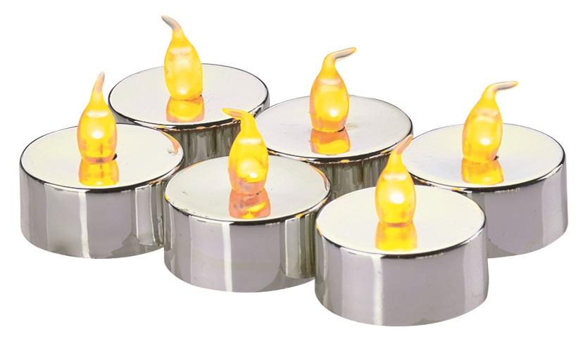 Svíčky LED svítící jantarové, 3,8 cm, 6 ks stříbrné