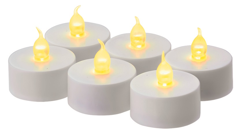Svíčky LED svítící jantarové, 3,8 cm, 6 ks bílé