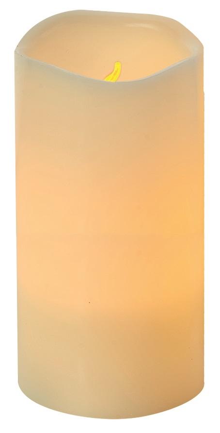 Svíčka LED svítící jantarová, 7,5 x 15 cm