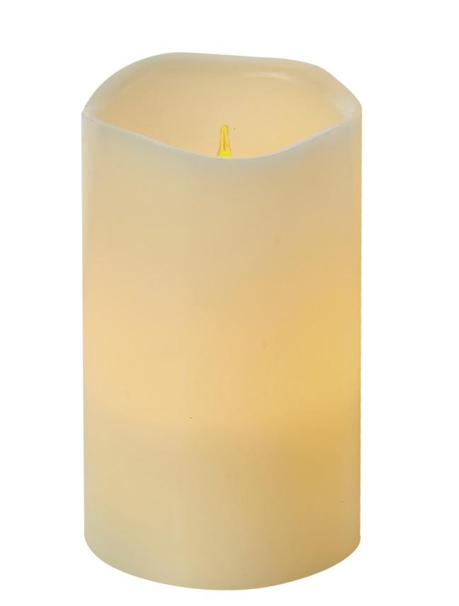 Svíčka LED svítící jantarová, 12,5 x 8 cm