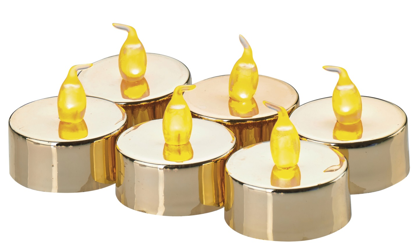 Svíčky LED svítící jantarové, 3,8 cm, 6 ks zlaté