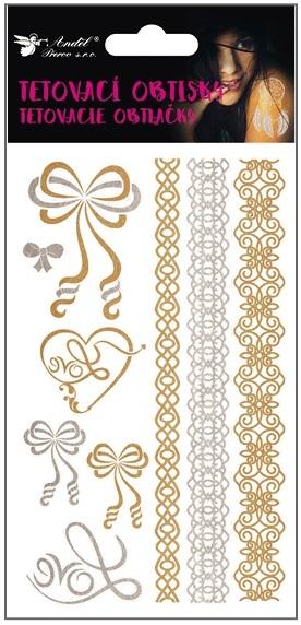 Obtisky tetovací zlaté a stříbrné 15x9 cm