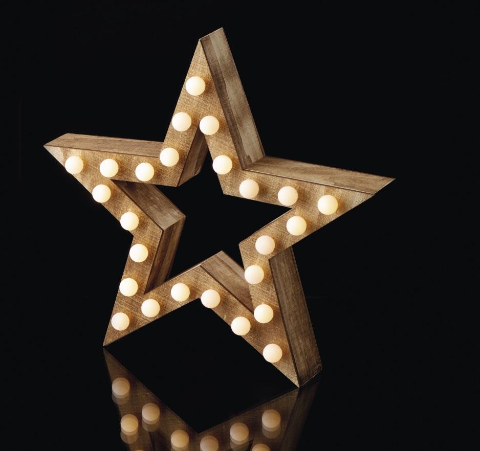 Hvězda dřevěná na postavení 38 cm, 25 LED, teplá bílá