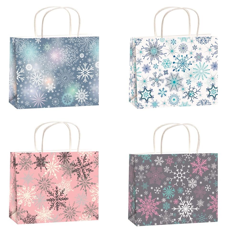 Vánoční dárková taška stříbrná ražba S horizont 15x12x5,5cm
