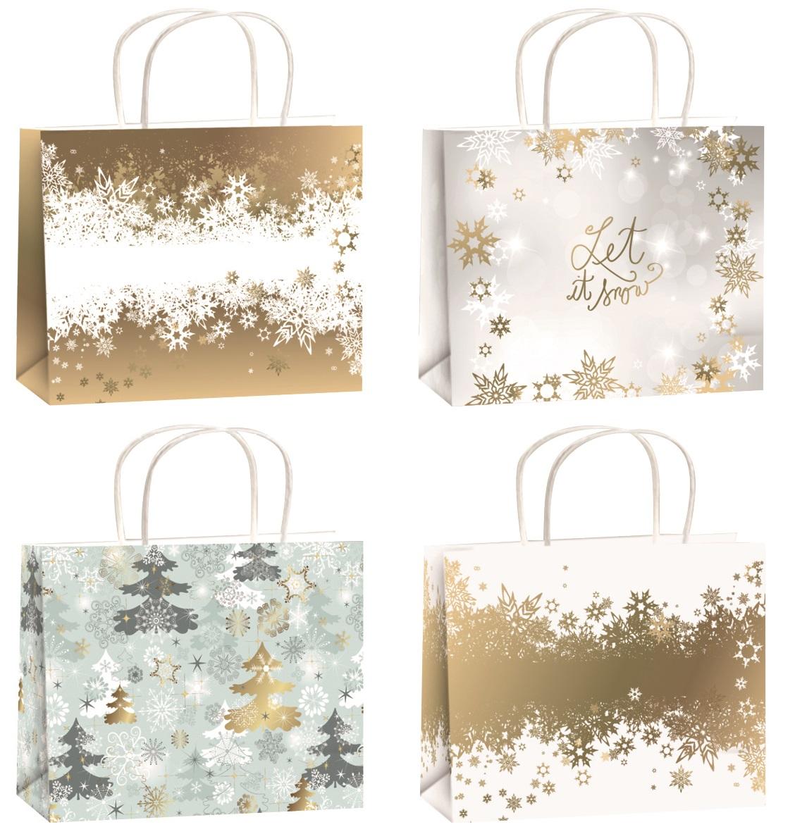 Vánoční dárková taška zlatá ražba M horizont 23x18x10cm