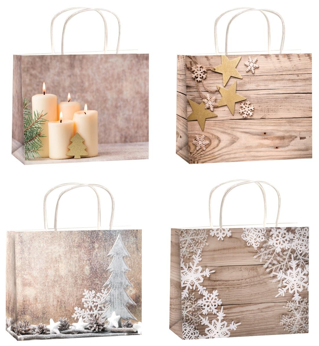 Vánoční dárková taška s glitry M horizont 23x18x10cm