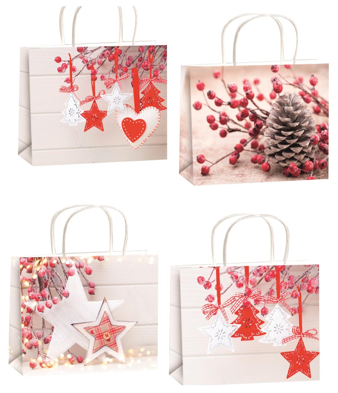 Vánoční dárková taška s glitry L horizont 32x26x12,7cm