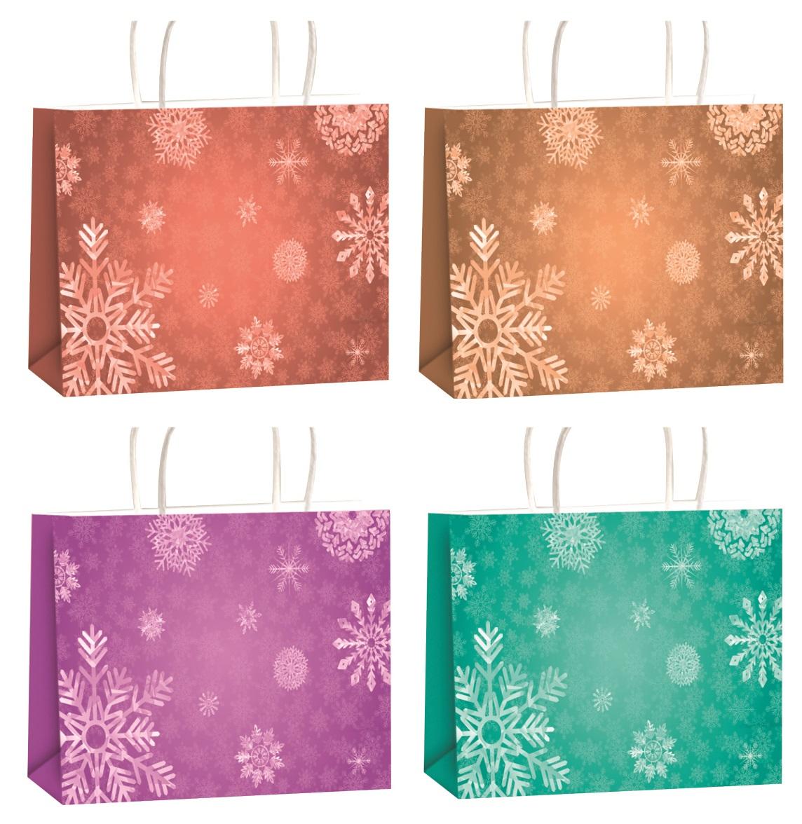 Vánoční dárková taška s glitry XL horizont 45,5x33x10,5cm