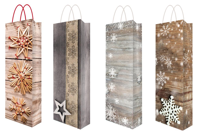Vánoční taška na lahev s glitry F 36 x 12 x 9 cm