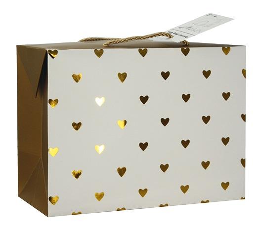 Dárková krabička s uchy 18x12x9 cm se zlatými srdíčky (12500)