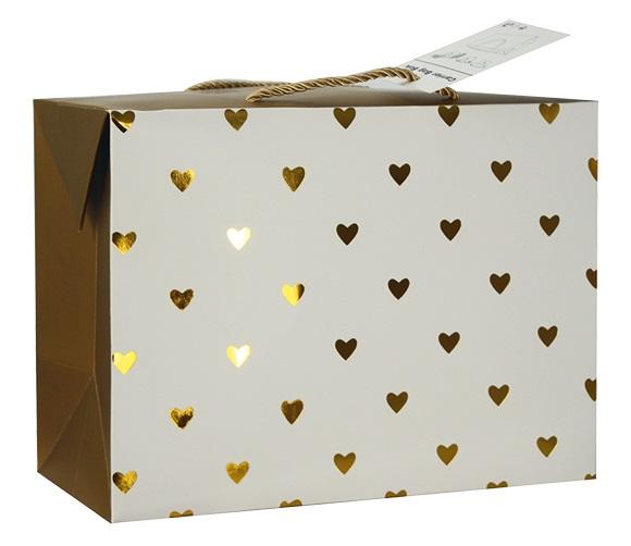 Dárková krabička s uchy 23x16x11 cm se zlatými srdíčky (12501)