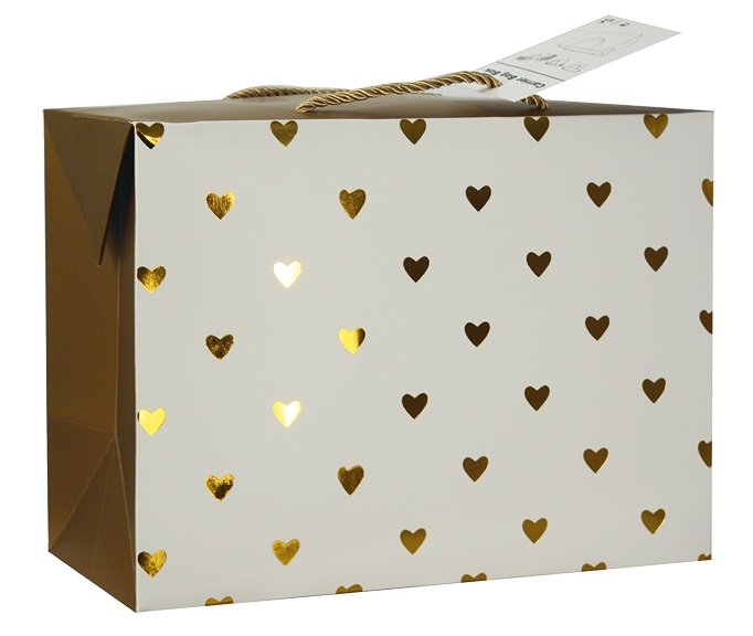 Dárková krabička s uchy 27x20x13 cm se zlatými srdíčky (12502)