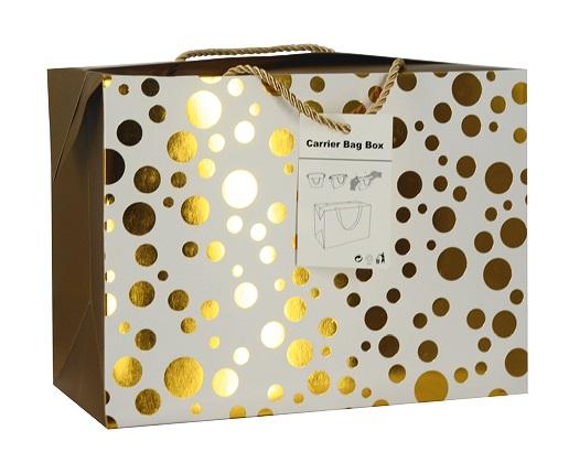 Dárková krabička s uchy 18x12x9 cm se zlatými kolečky