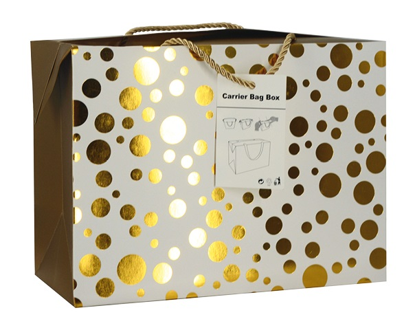 Dárková krabička s uchy 23x16x11 cm se zlatými kolečky (12504)