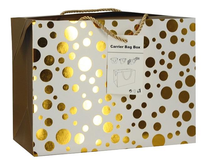 Dárková krabička s uchy 27x20x13 cm se zlatými kolečky