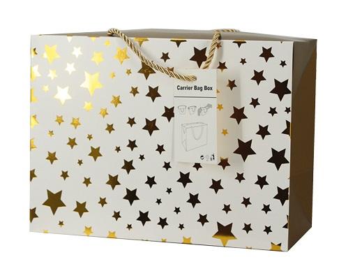 Dárková krabička s uchy 18x12x9 cm se zlatými hvězdičkami (12506)