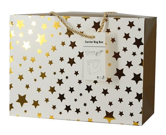 Dárková krabička s uchy 23x16x11 cm se zlatými hvězdičkami (12507)
