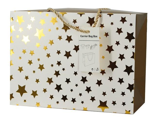 Dárková krabička s uchy 27x20x13 cm se zlatými hvězdičkami (12508)
